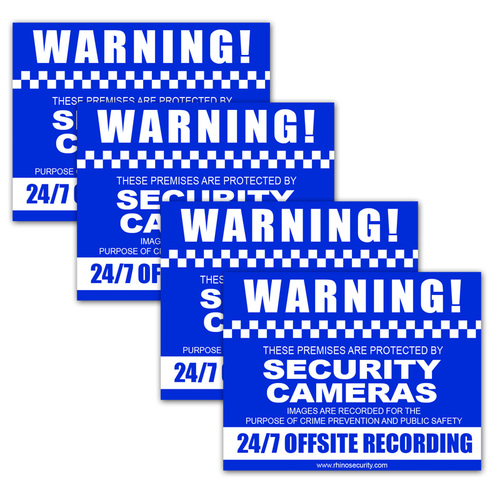 CCTV Warning Sign Adhesive 4 PACK 130x100mm