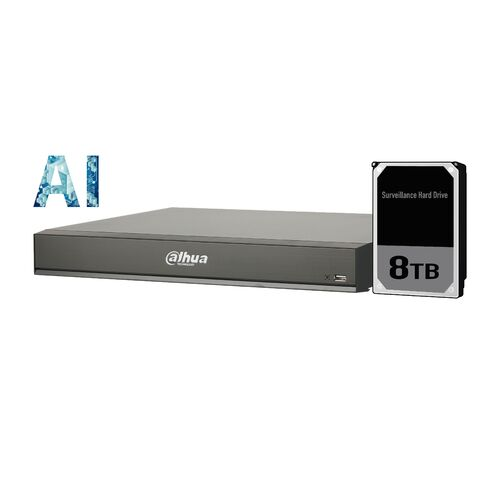 Dahua 16ch AI NVR 16MP recording,16xPOE,1x HDMI(4K)/VGA, Face Capture, Face Recognition, People Counting, ANPR, POS, P2P, 8TB installed