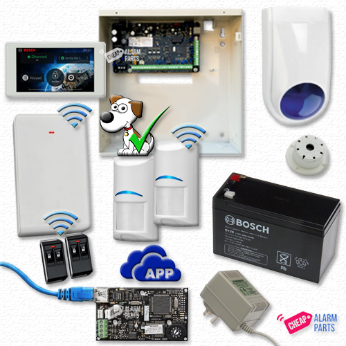 "Bosch Solution 3000 IP Cloud Kit + 2 Wireless Tri-Techs (Pet Proof) + 5"" Touch Screen Keypad"